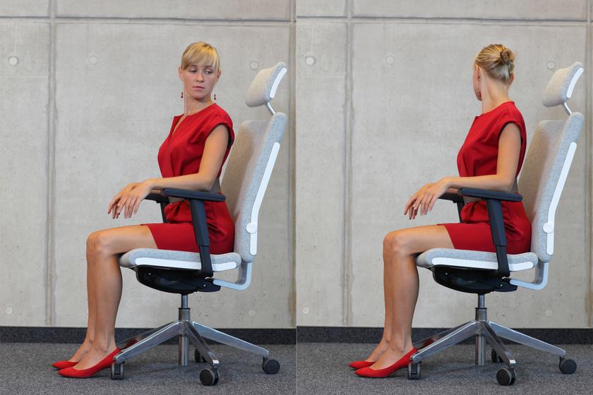 Fordítsd el a fejed az egyik, majd a másik vállad irányába, amíg érzed, hogy jólesően nyúlnak a nyak izmai. Tartsd meg a pozíciót oldalanként 10-10 másodpercig.