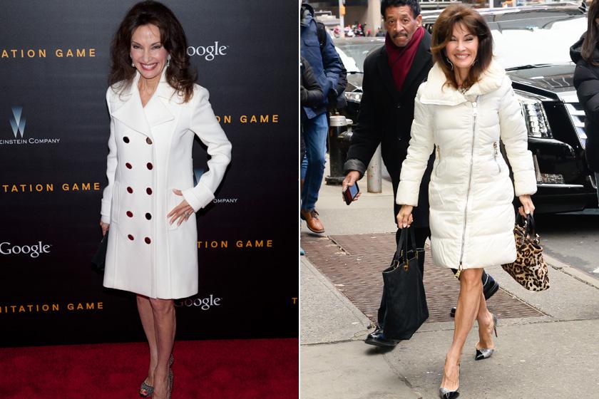 Susan Lucci gyakran hord hófehér, térd fölé érő kabátokat szoknyával, amelyekben rendkívül elegánsan fest. Arra mindig ügyel, hogy nádszálvékony alakját se rejtsék el a darabok.