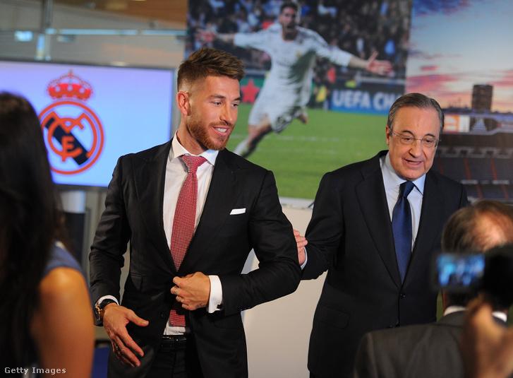 Sergio Ramos Real-csapatkapitány és Florentino Perez elnök egy korábbi eseményen