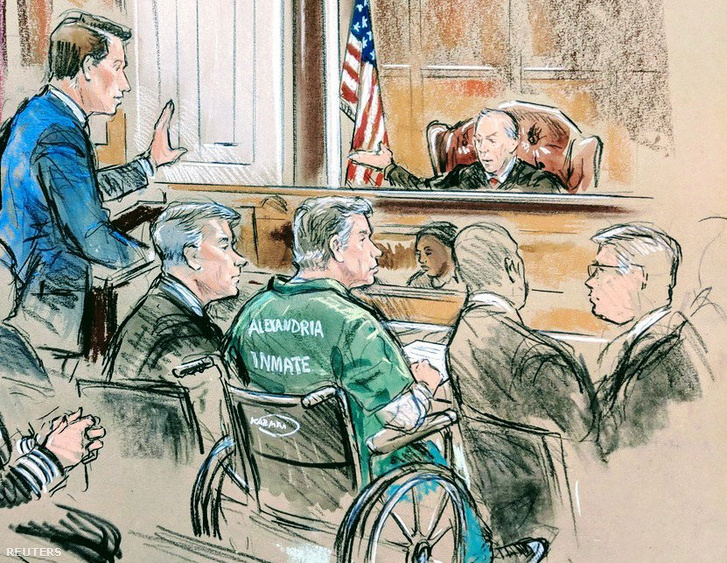 Paul Manafortról (középen) készült vázlatrajz a bíróságon, Virginia-ban 2019. március 7-én