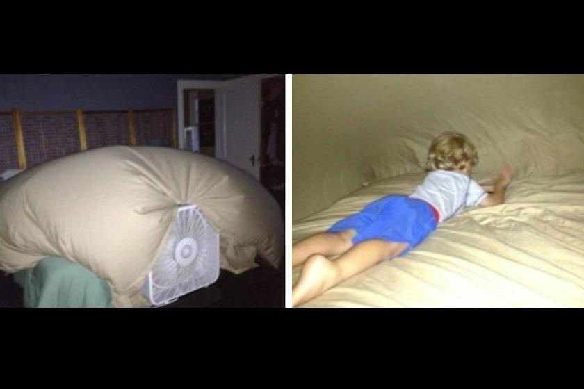A lepedőből ventilátor segítségével készített sátor tűzveszélyes, és áramütés is érheti a gyereket.