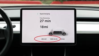 Óránként 1600 kilométernyi hatótávot ad a Tesla új szuper töltője