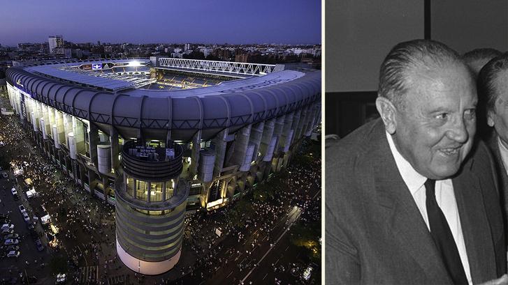 Bal oldal: A Santiago Bernabeu stadion, jobb oldal: Santiago Bernabéu 1969-ben