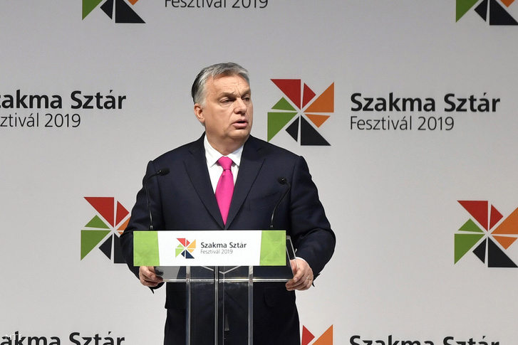 Orbán Viktor miniszterelnök beszédet mond a XII. Szakma Sztár Fesztiválon a Hungexpo Budapesti Vásárközpontban 2019. március 12-én.