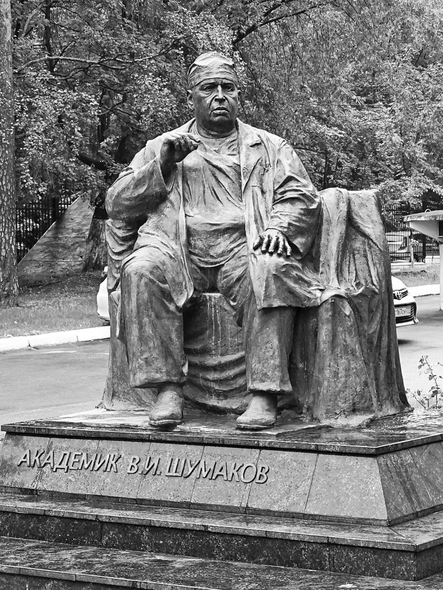 Valerij I. Sumakov szobra a Sumakov Transzplantológiai és Mesterséges Szervek Intézete kertjében (Scsukinszkaja utca 1.). A moszkvai orvosprofesszor a mesterséges szív megalkotásával, szervátültetésekkel kapcsolatban végzett úttörő kutatásokat, részt vett a később róla elnevezett intézet alapításában, aminek 1974-ben lett az igazgatója. A szobor mintha egy hosszú szíváltütetés után ábrázolná a kimerülten lerogyó sebészt.
