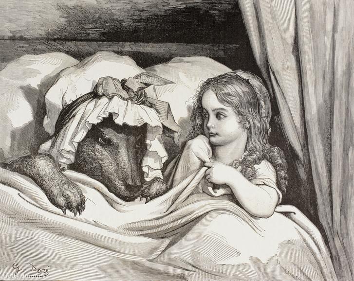 Charles Perrault által készített piroska és a farkas illusztráció, körülbelül 1880-ból