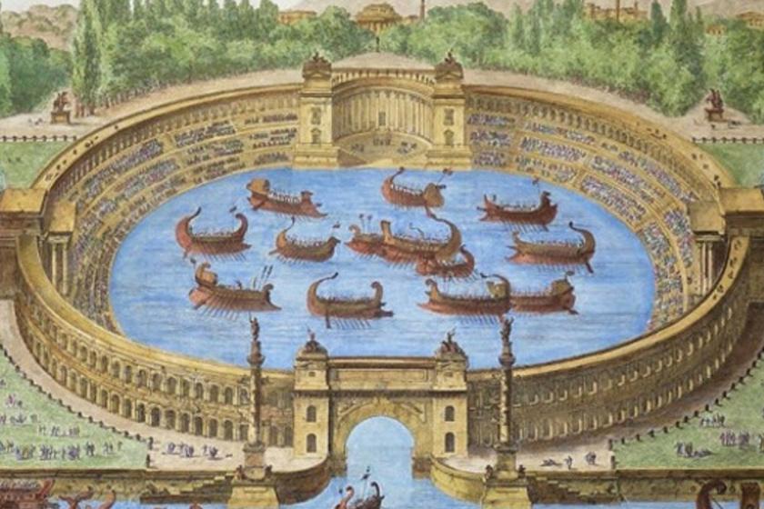 A rajz bemutatja, hogyan is nézhetett ez ki. A Colosseum falain belül mini tengeri csatát rendeztek, igazi hajókkal.