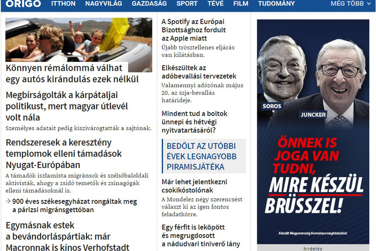 Government banner below the fold on pro-government news site origo.hu on the afternoon of 14 March 2019.