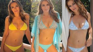 Liz Hurley mintha ezt az évet eddig csak bikiniben töltötte volna