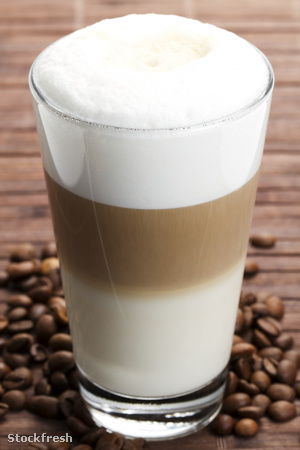 stockfresh 531574 latte-macchiato-with-coffee-beans sizeM