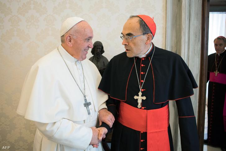 Ferenc pápa és Barbarin bíboros 2019. március 18-án