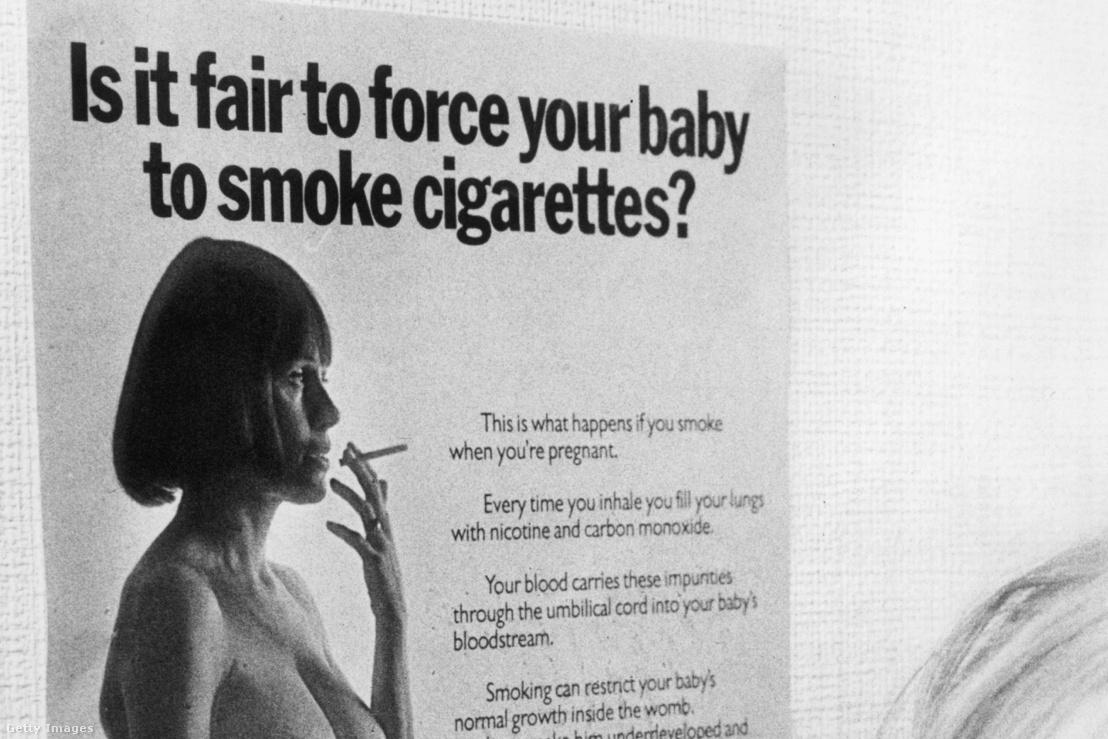 1974-es angol plakát, amely figyelmezteti a nőket a terhesség alatti dohányzás veszélyeire