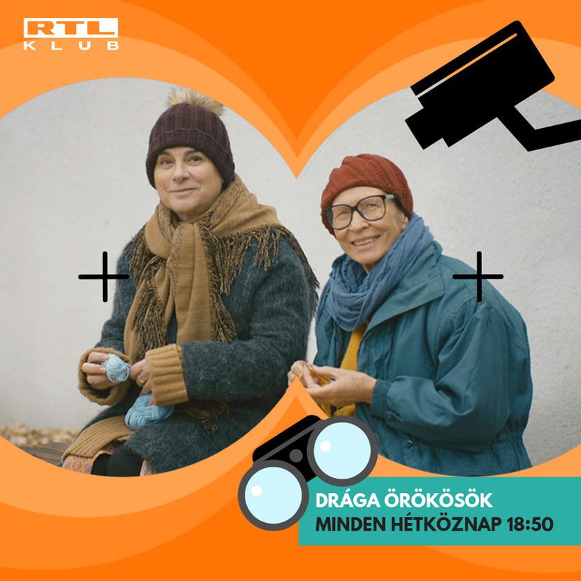 Fekete Györgyi alakítja a Drága örökösök pletykás Margit nénijét (bal oldalon).