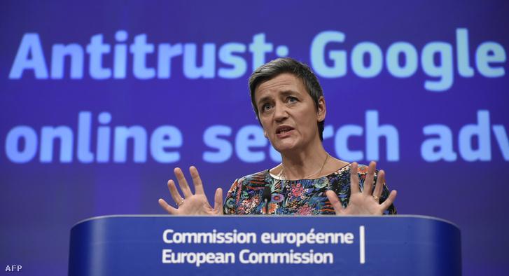 Margrethe Vestager sajtótájékoztatója Brüsszelben 2019. március 20-án