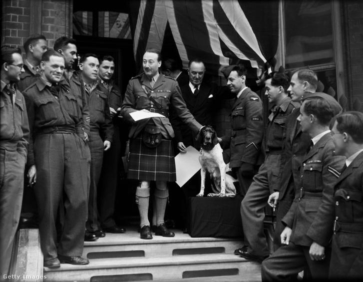 Judy Dickin-érmet kap Roderick Mackenzie őrnagytól 1946. május 2-án