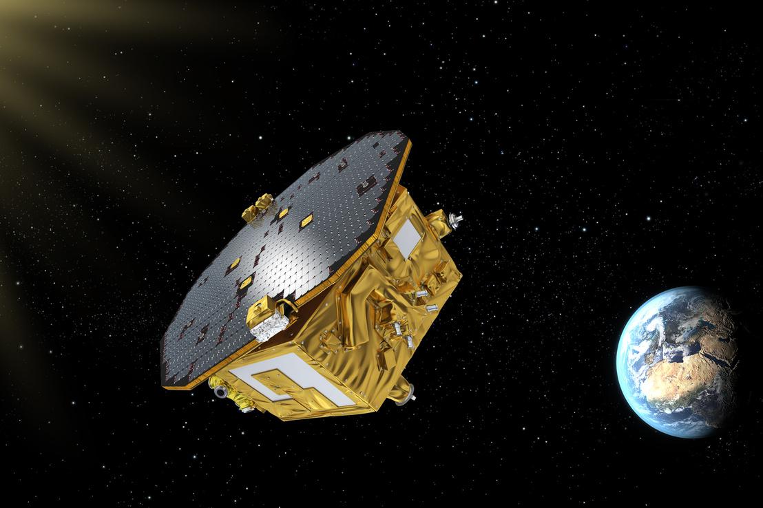 Látványterv a 2015-ben felbocsátott LISA Pathfinderről, amellyel a LISA űrteleszkóphoz szükséges technológiákat tesztelte az Európai Űrügynökség (ESA). 2016-ban az ESA bejelentette, hogy a demonstráció sikeres volt, a LISA-projekt megvalósítható.