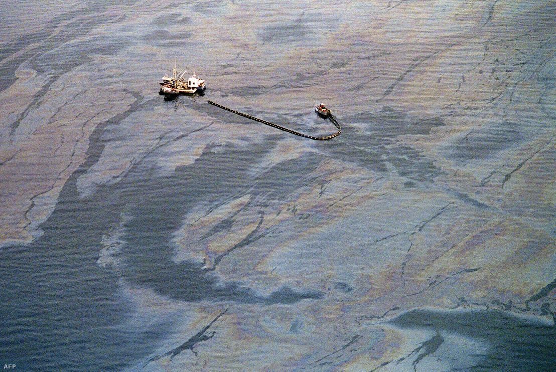 Az olajszennyeződés eltávolítási műveletében részt vevő hajók a Vilmos herceg-szoros délnyugati végén, a Latouche-sziget közelében 1989. április 1-én