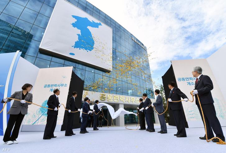 Kaesongi koreaközi intézet megnyitója 2018. szeptember 14-én