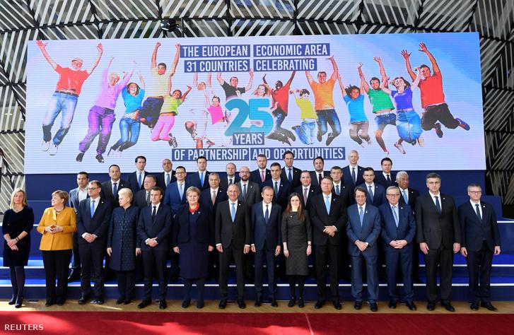 Európai Uniós vezetők a brüsszeli találkozón 2019. március 22-én