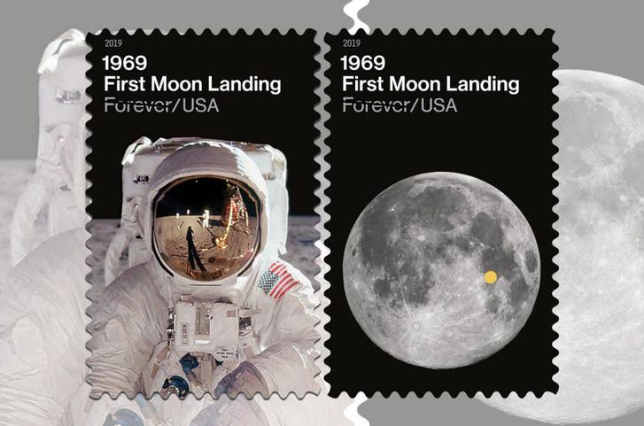 Az Apollo-11 küldetésének emléket állító bélyegek