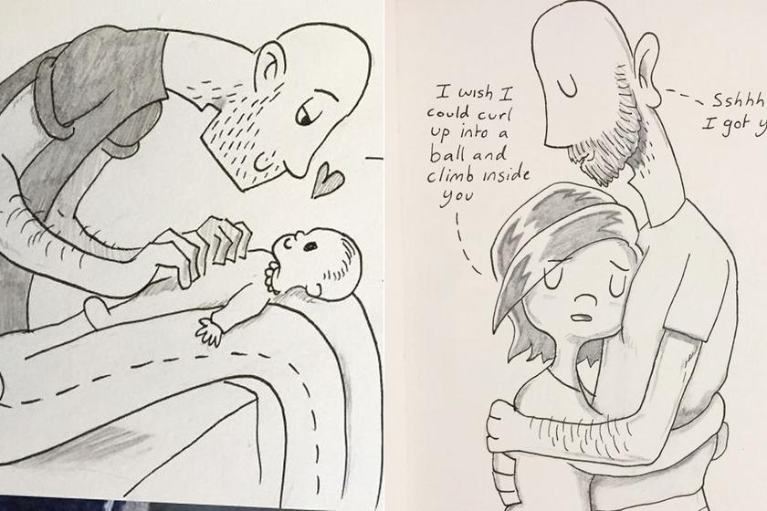 7 éve mindennap készít egy rajzot a férfi - A legértékesebb pillanataikat örökíti meg