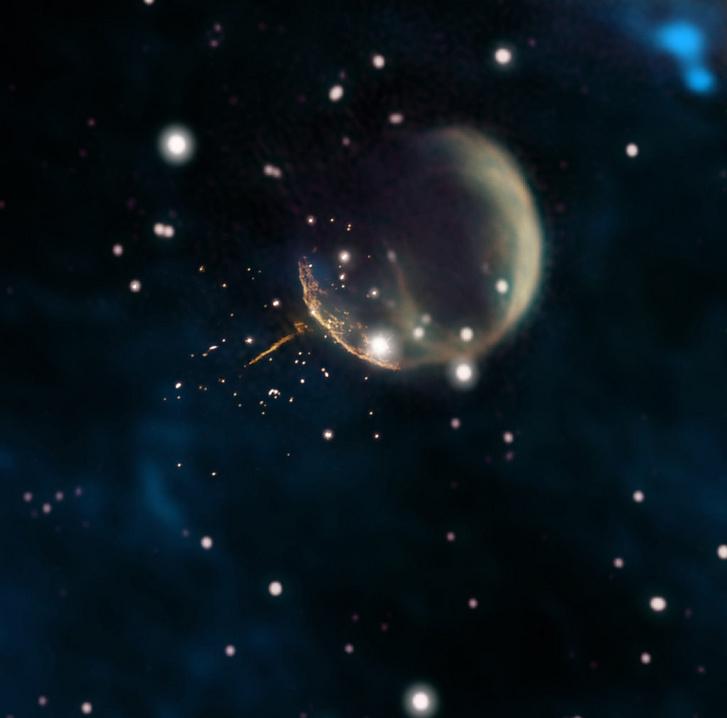 Az üstökösként száguldó pulzár és a szupernóva törmelékfelhője
