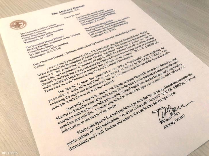 William Barr levele a törvényhozóknak, amit Rober Mueller jelentése alapján írt meg 2019. március 23-án