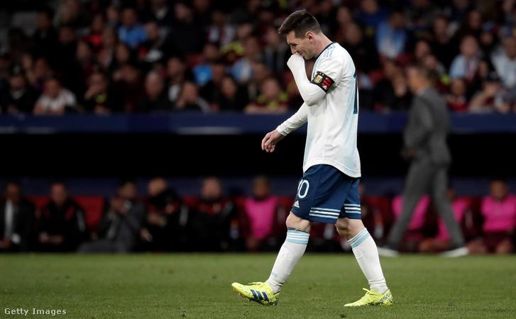 Lionel Messi az Argentina -Venezuela meccs után Madridban 2019. március 22-én