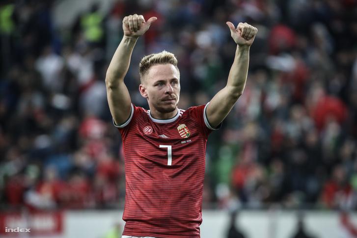 Dzsudzsák Balázs a Magyarország - Horvátország labdarúgó Európa-bajnoki selejtezőmérkőzés végén a Groupama Arénában 2019. március 24-én