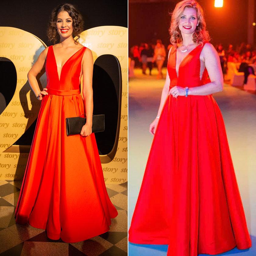 A Zhoja Szalon tűzpiros estélyi ruháját Ördög Nóra az idei Story-gálán, Novodomszky Éva egy március közepi rendezvényen viselte.