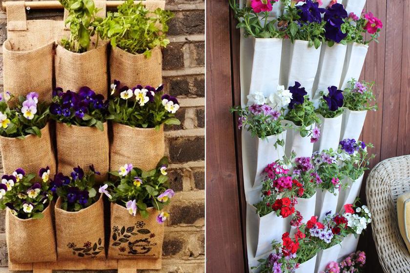 Ezek az ültetőalkalmatosságok eredetileg cipőtartók voltak, mégis remekül mutatnak virágtartóként.