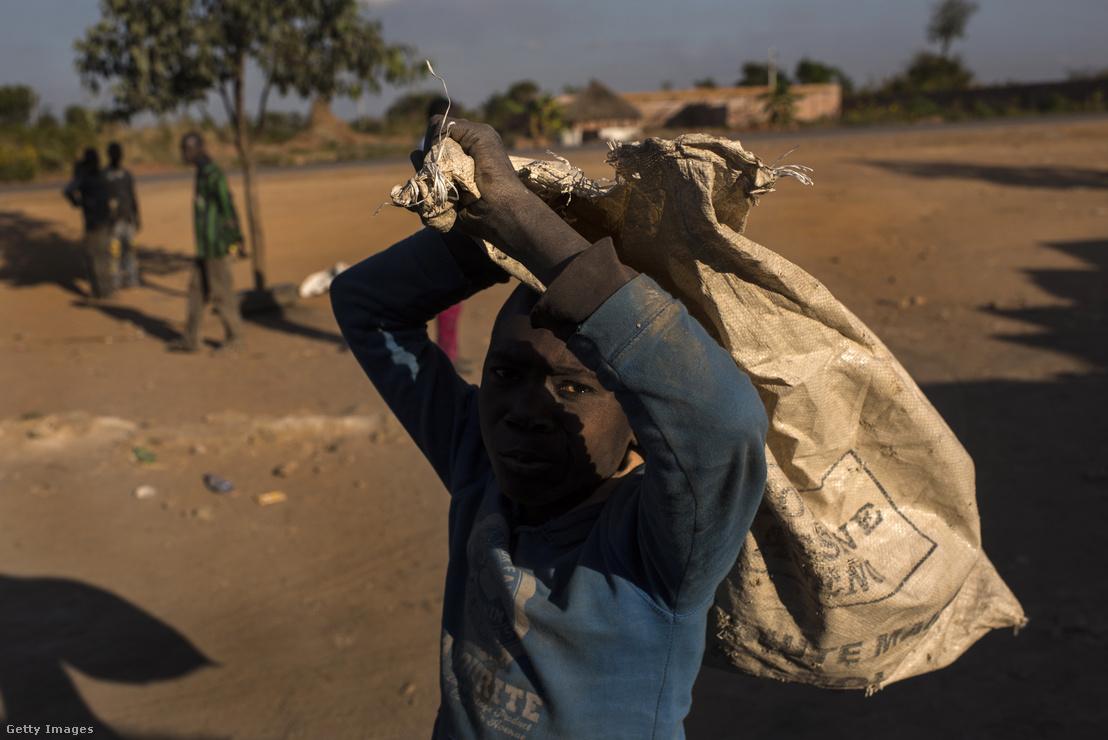 Egy fiú visz a kobaltbányászathoz használt zsákot a musompói ásványpiacon Kongóban, 2016. június 7-én.