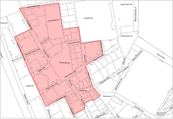 Pirossal jelölve a kiürítéssel érintett területek.