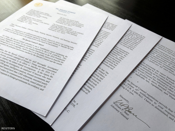 Négyoldalas összefoglaló William Barr aláírásával.