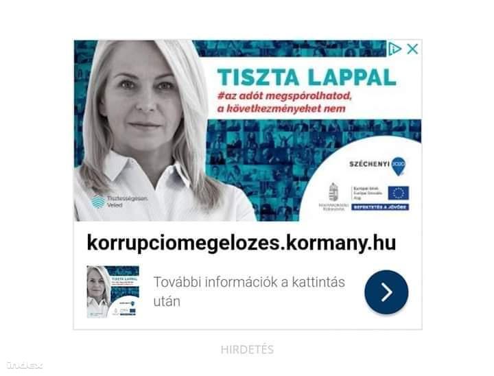 Korrupcióellenes kormányhirdetés a kormánymédiában 2019 márciusában. A reklámozott kormányzati oldalon az utolsó hír 2018 szeptemberi.