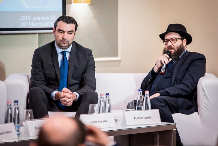 Ifj. Lomnici Zoltán alkotmányjogász, a Századvég Alapítvány jogi szakértője és Bodnár Dániel az Egységes Magyarországi Izraelita Hitközség egyik vezetője