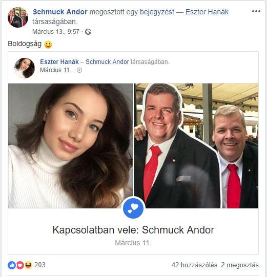 Schmuck Andor és barátnője március 11-én vállalták fel a Facebookon, hogy egy párt alkotnak. A gratulációk mellett csipkelődő kommenteket is kaptak.