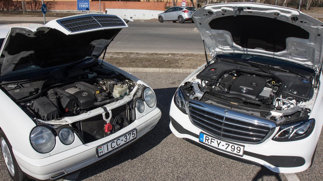 Sajnos nem sikerült 200-as motorral szerelt W210-est találni, ez a 240-es V6-os a motorpaletta negyedik lépcsője volt, viszont még így is csak 170 lóerős, szemben a 2019-es 184 lóerős belépő benzinessel. A W210-es egészén érezni a kort, a futóműve sem olyan bombabiztos, ahogy a beltér is meg-megzörren, ellenben a motor még mindig elég finoman jár, egyenletesen adja le az erejét, és összességében szépen viszi az autót. Ez lehetett a legjobb kompromisszum 20 évvel ezelőtt.