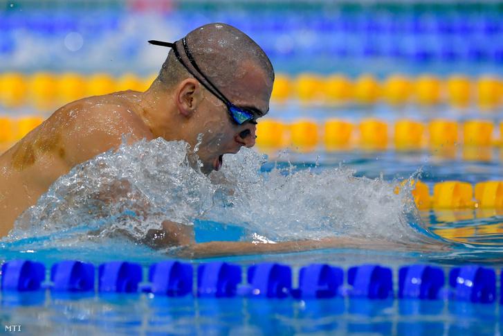 A későbbi győztes Cseh László a 200 méteres vegyesúszás döntőjében az úszók országos bajnokságán a Debreceni Sportuszodában 2019. március 28-án.