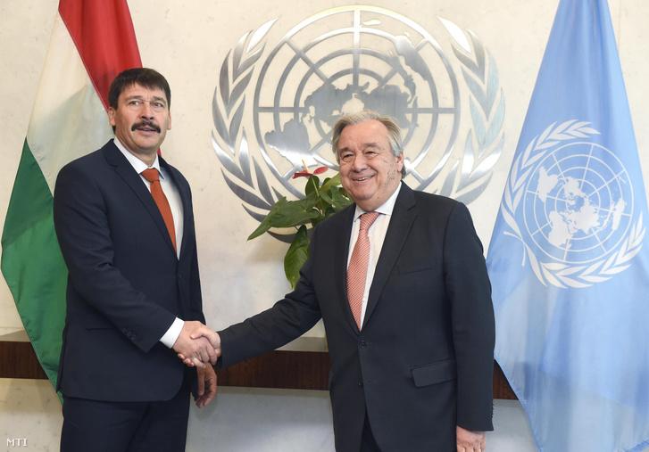 Áder János köztársasági elnök (b) és António Guterres ENSZ-főtitkár találkozója az ENSZ Közgyűlés éghajlatváltozással és a fenntartható fejlődéssel foglalkozó magas szintű vitája után az ENSZ-székházban New Yorkban 2019. március 28-án