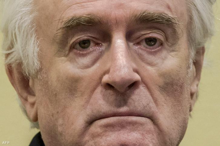 Radovan Karadžić, volt boszniai szerb elnök a hágai tárgyaláson 2019. március 20-án