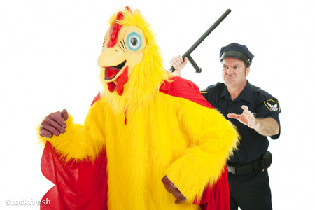 stockfresh 208911 cop-chasing-chicken-man sizeM