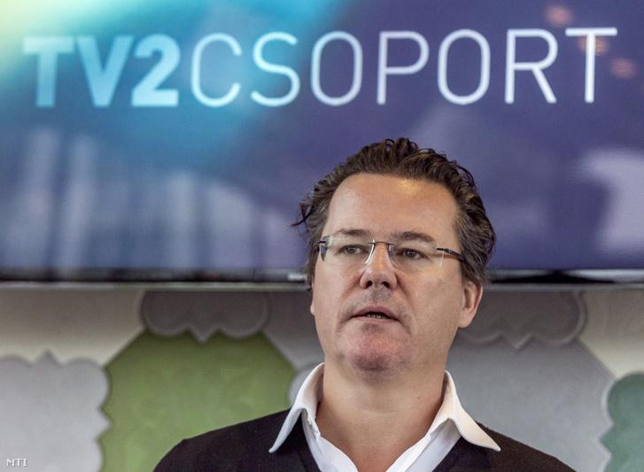 Dirk Gerkens vezérigazgató a TV2 Csoport tavaszi műsorait bemutató tájékoztatón 2017. február 8-án.