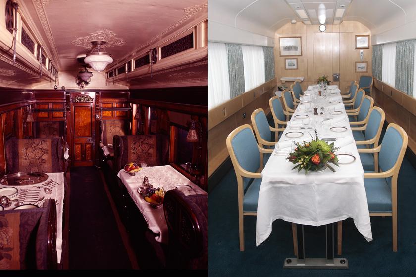 A királyi vonat étkezőhelyisége a 19. század második felében és 2010-ben. Egy átlagos utazás a királyi vonattal 35 000 angol fontba kerül, II. Erzsébet férjével, Fülöp herceggel együtt igen gyakran használja az otthoni hivatalos útjai lebonyolítására.