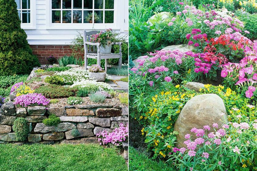 Az emelt sziklakerti ágyás az egészen kis kertekben is jól megfér, a fala pedig lehet terméskő, tégla vagy akár fa is.