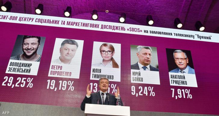 Petro Porosenko államfő beszédet mond Kijevben, 2019. március 31-én, a választások első fordulóját követően