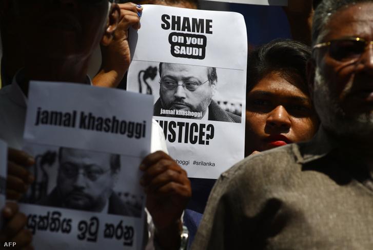 A szaúdi disszidens Dzsamál Hasogdzsi meggyilkolása miatt tüntetők 2018. október 25-én, Colombo városában, Srí Lankán