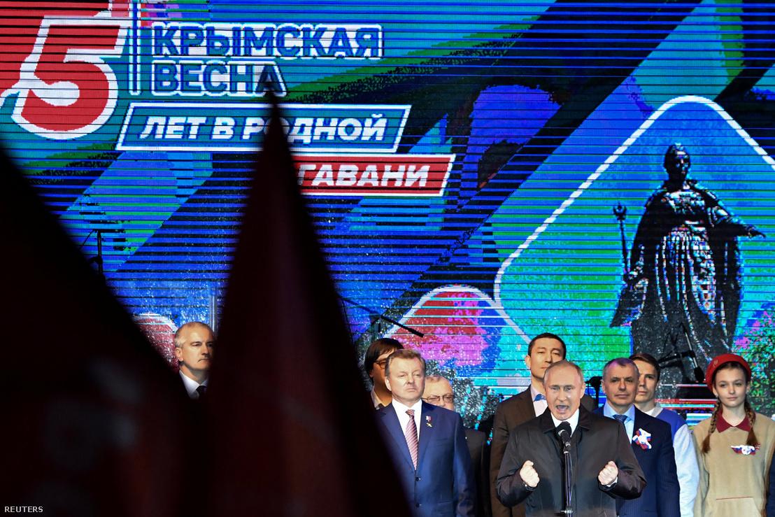 Vlagyimir Putyin a Krím elcsatolásának ötödik évfordulóján Szimferopolban.