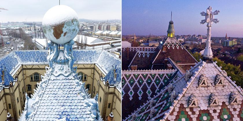 A Magyar Állami Földtani Intézet Atlasz-szobra és a szabadkai városháza csúcsdísze.
