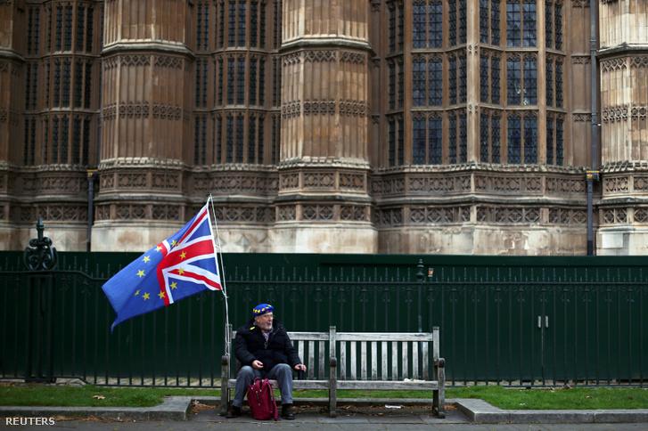 Brexit-ellenes tüntető Londonban a Parlament épülete előtt